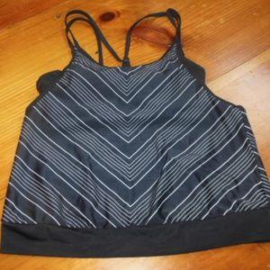 ATHLETA 32B/C Black Chevron Layered Swim Top